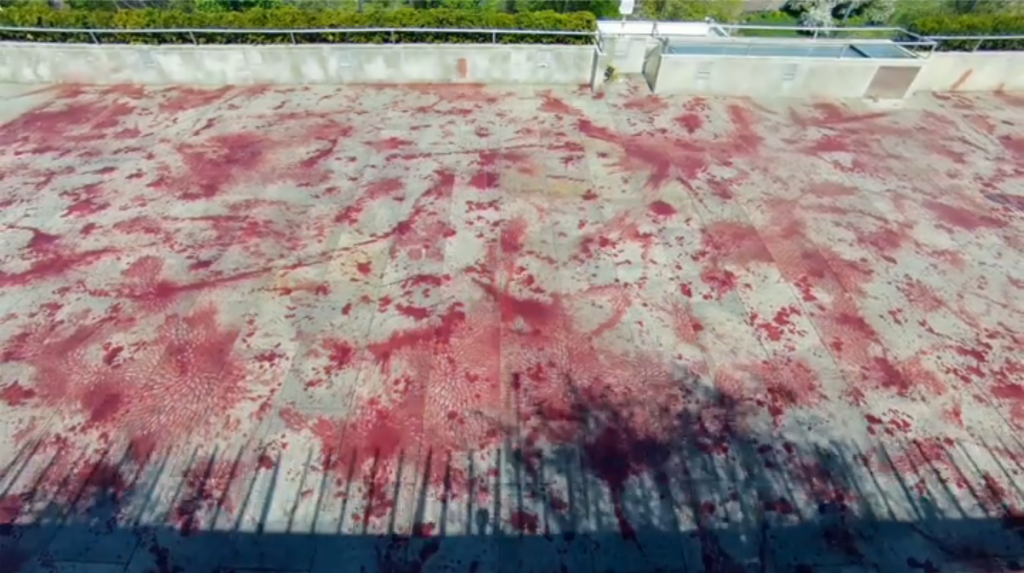 Qureshi's rooftop art reflects on the current state of violence in the world.