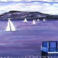 A painting of sailboats on the Hudson River, barbed wire swirling at the bottom of the canvas.