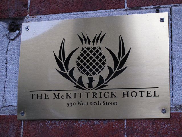 A sign for the McKittrick Hotel in NY.