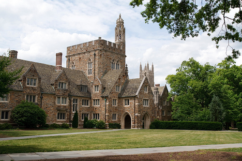 The quad of Duke University on a sunny day.