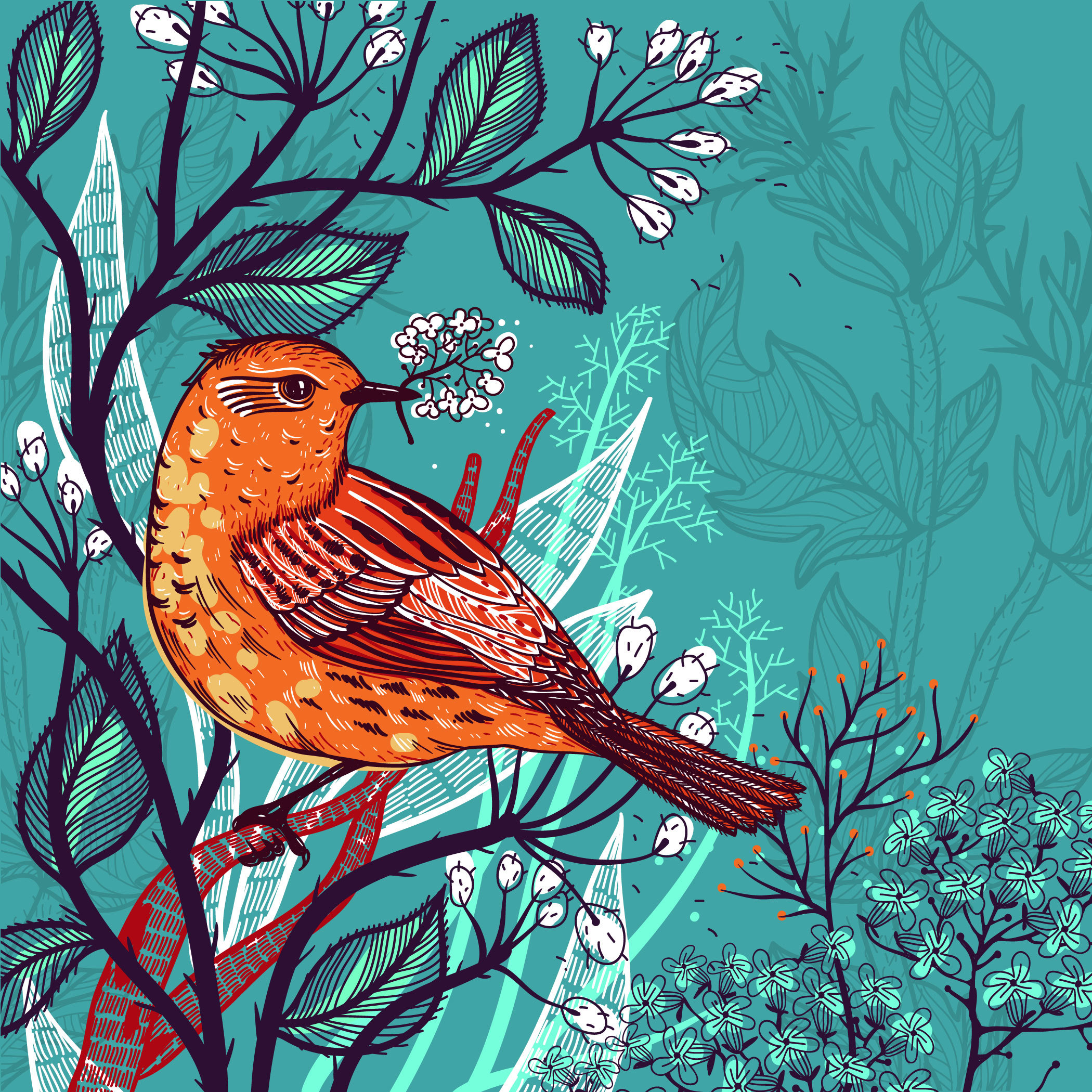 An illustration of an orange bird over a teal and white background.