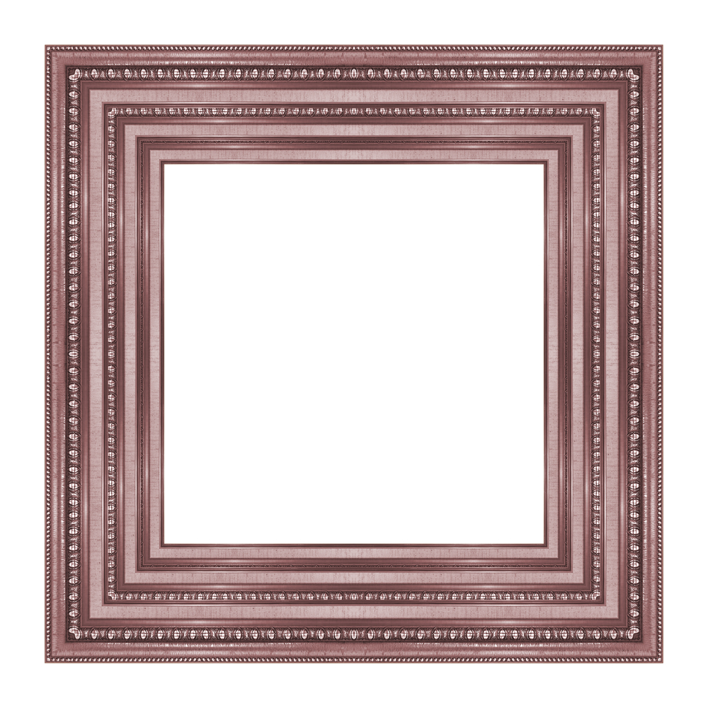 A rose-colored picture frame, empty, surrounded by a white background.