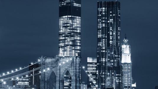 The Brooklyn Bridge in black and white.