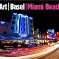 "A blurred city beneath the words ""Art Basel Miami Beach."""