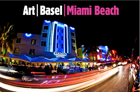 "A blurred city beneath the words ""Art Basel Miami Beach."""