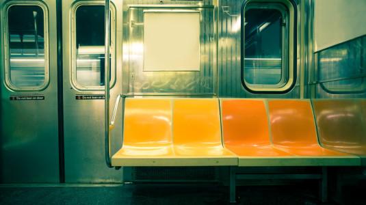 The interior of a NYC subway.