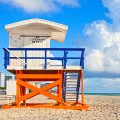 A lifeguard stand on the sands of Miami Beach.
