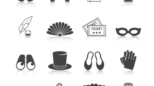 Small black illustrations of different kinds of performing arts.