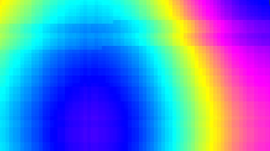 A pixelated screen of a rainbow.