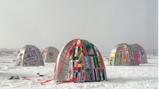 Colorful tents in Antarctica.