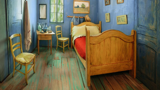 A real-life replica of van Gogh's bedroom.