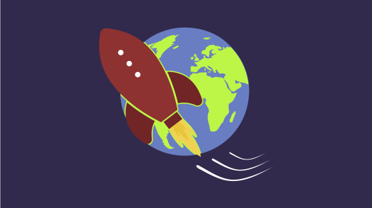 An illustration of a rocketship shooting past earth.