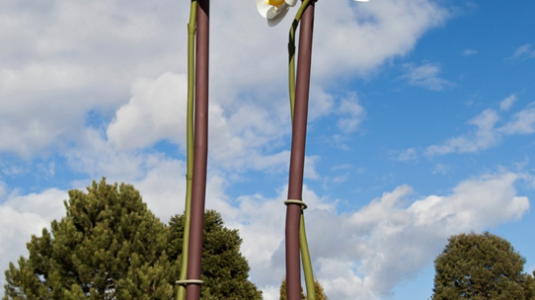 A photo of the Two Orchids installation on a sunny day.
