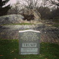 A tombstone for Donald Trump.