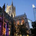 Southwark Cathedral after dusk.