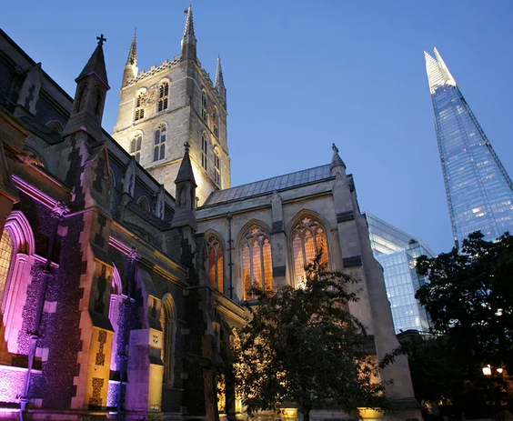 Southwark Cathedral after dusk.