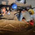 A group of archaeologists dig for Lisa Gherardini's skull.