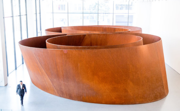 An enormous Richard Serra sculpture at the new SFMOMA.