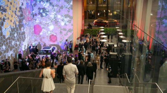 Well-dressed guests head into the SFMOMA Ball.