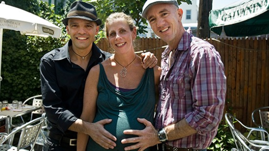 A photo of Sandro Sechi, Rachel Segall, and Erik Mercer.