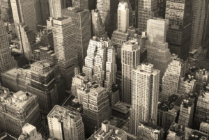 NYC skyline in black and white