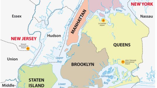 A map of New York City that highlights all five boroughs: Manhattan, the Bronx, Queens, Brooklyn, and Staten Island.