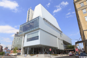 A photo of the Whitney Museum of American Art, shown from the outside.