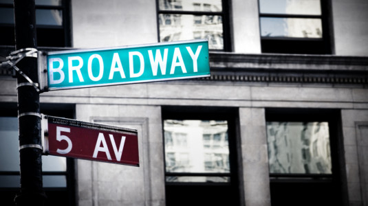 A photo of a Broadway street sign in New York City.