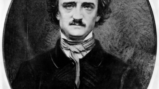 A black-and-white photo of Edgar Allan Poe.
