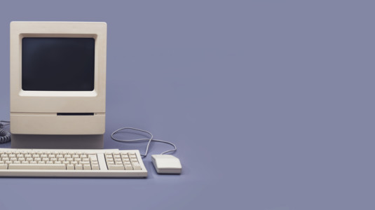 A photo of one of the first Macintosh computers.