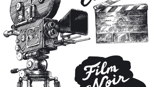 A hand drawn image of a camera, a reel, and a clapperboard.