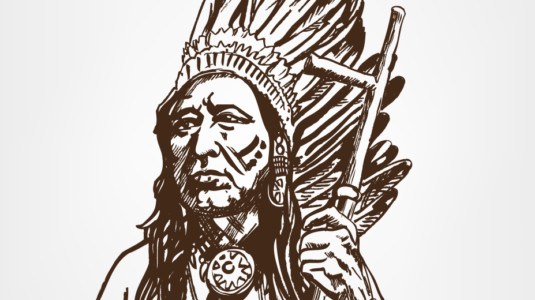 A drawing of a Native American Chief.