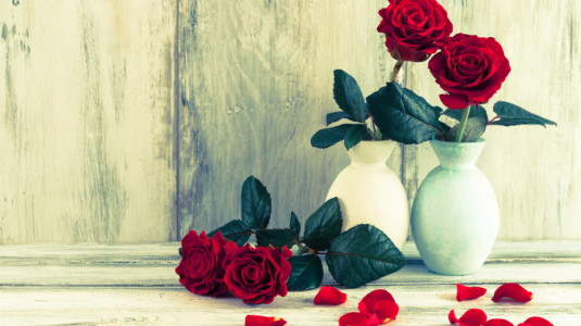 A beautiful picture of roses in vases.