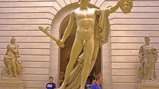 A picture of a statue taken at the Metropolitan Museum of Art in NYC.