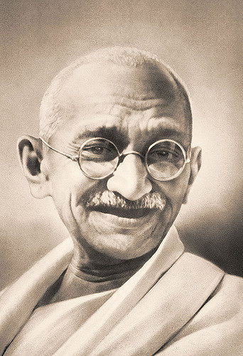 A photo of Gandhi.