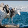 A sculpture of a bull by artist Adrián Villar Rojas.