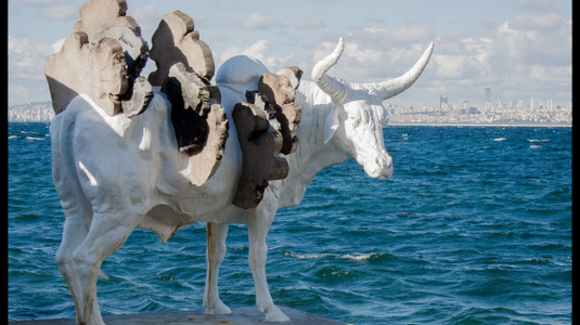 A sculpture of a bull by artist Adrián Villar Rojas.
