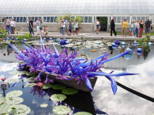 A purple glass boat in a pond. Picture taken at the New York Botanical Garden.