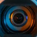 A close-up photo of a camera lens.
