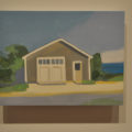 A painting of a house, created by artist Maureen Gallace.