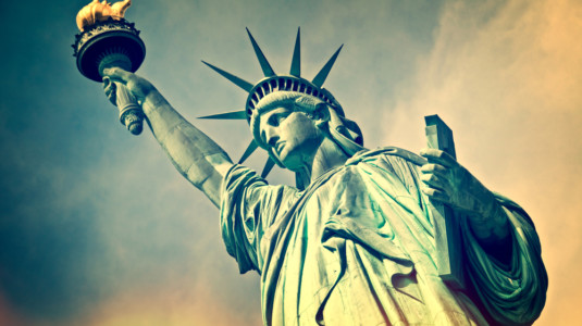 A picture of the Statue of Liberty, located in New York City.