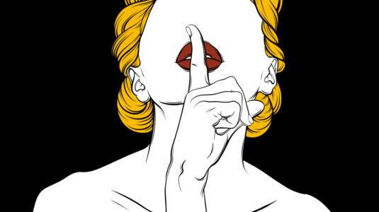 An illustration of a blonde woman without any eyes.