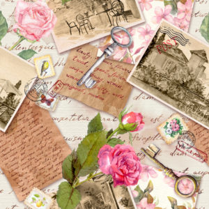 A collage of photographs, letters, postcards, and illustrations---all of which encompass the postal art.
