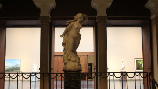A photo of a statue. The photo was taken inside the Berkshire Museum.