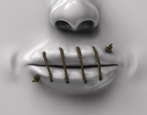 A person with their mouth sewn shut.