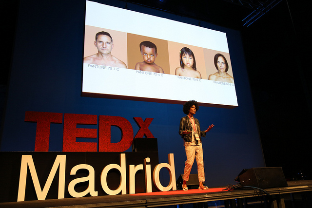 "Artist Angelica Dass speaks about her project ""Humanæ"" at a TedX event in Madrid, Spain. ""Humanae"" is a collection of photographs in which Dass has matched the subjects' skin tone to a Pantone color."