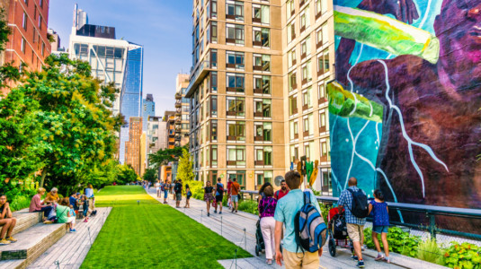 High Line Park in Manhattan, New York. The popular urban park is built on elevated train tracks.