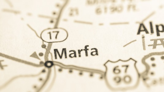 Marfa, Texas, as shown on a map.