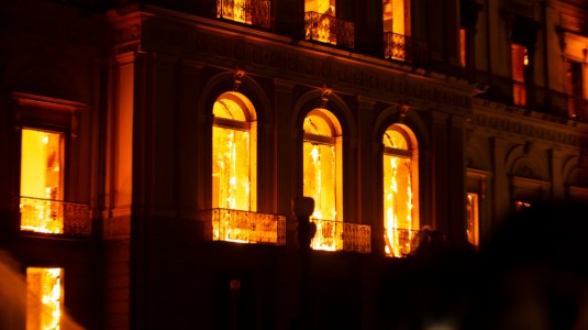 The National Museum of Brazil on fire.