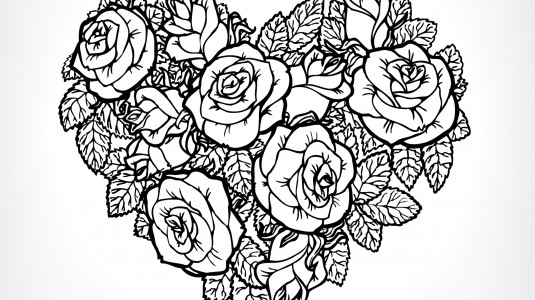 An illustration of roses arranged in the shape of a heart.